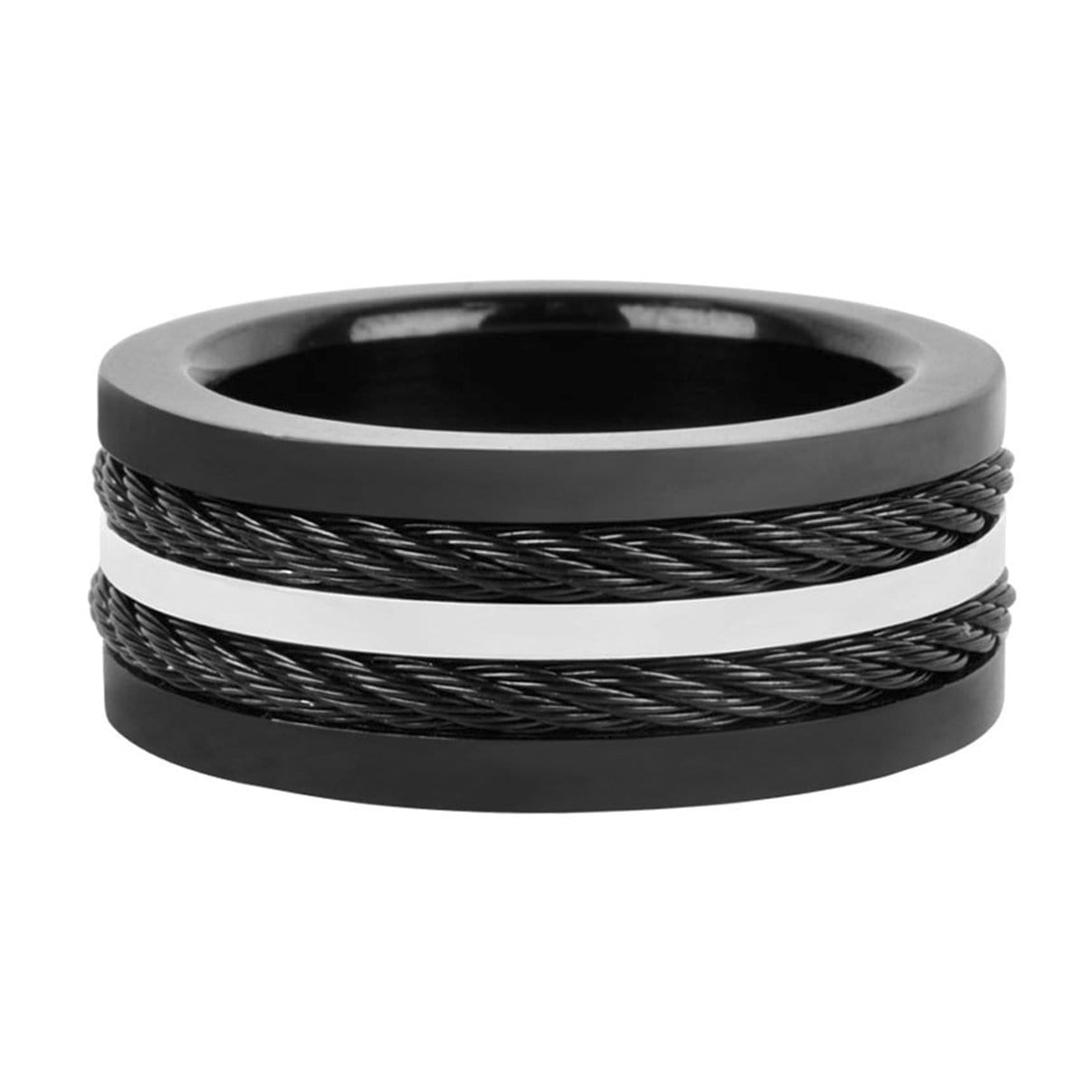 Black & Silver Stainless Steel Urbanight Double Twist Cable Ring Rings
