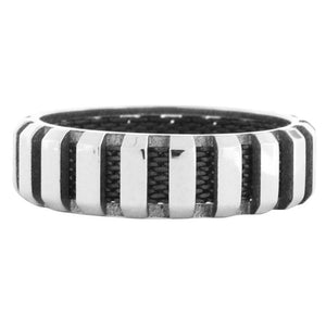 Black & Silver Stainless Steel Vertical Stripe Ring Rings