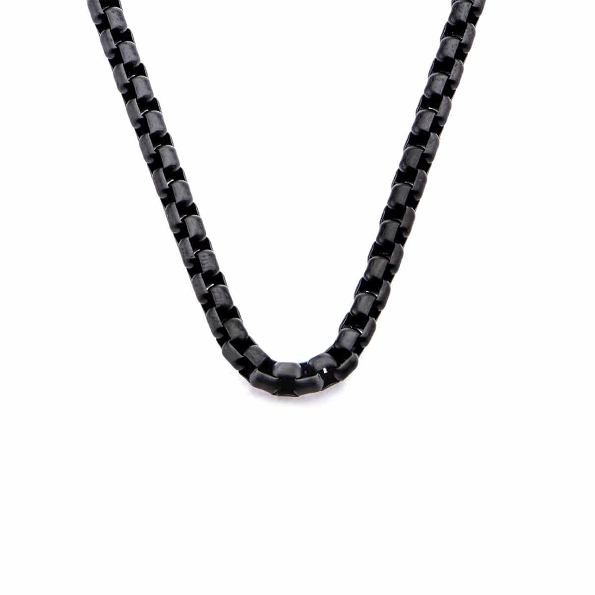 Black Stainless Steel 4mm Bold Round Rolo Box Link Chain Chains