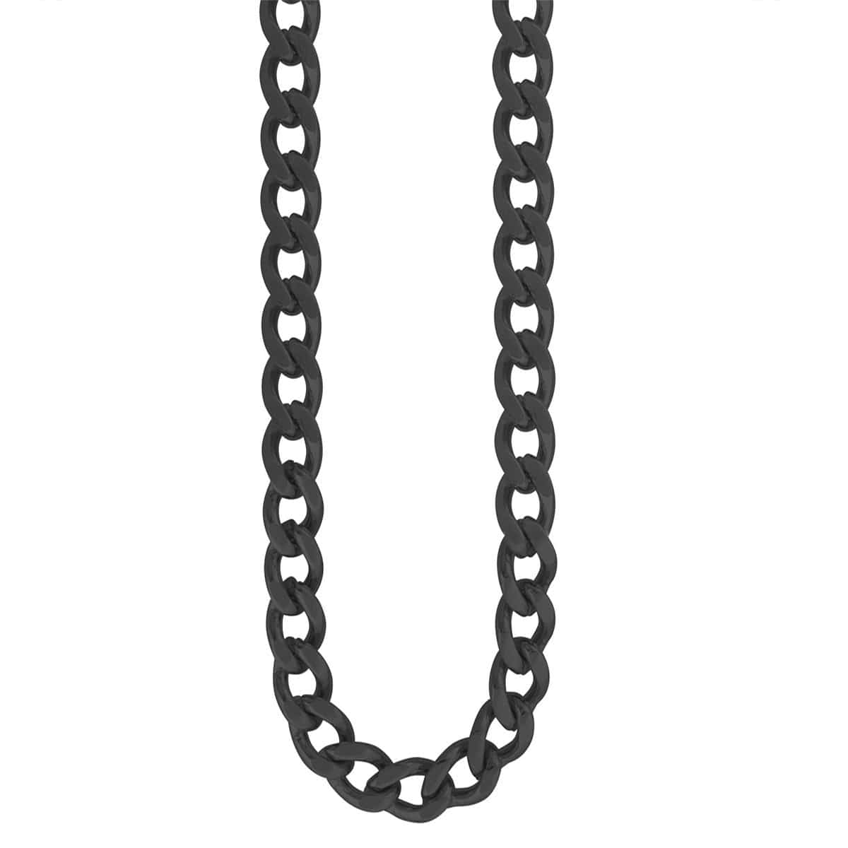 Black Stainless Steel 4mm Flat Curb Polished Chain