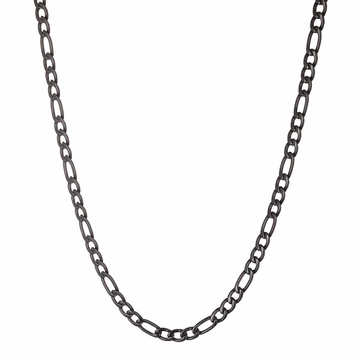 Black Stainless Steel 6mm Figaro Classic Chain