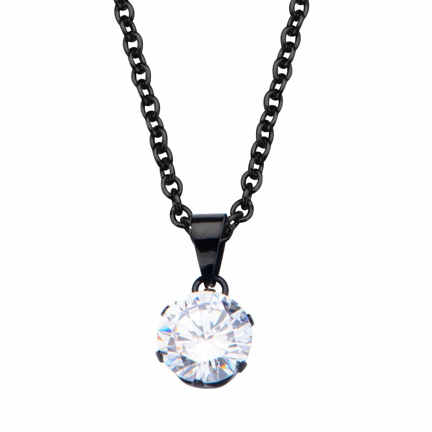 Black Stainless Steel 8mm Solitaire CZ Pendant Pendants