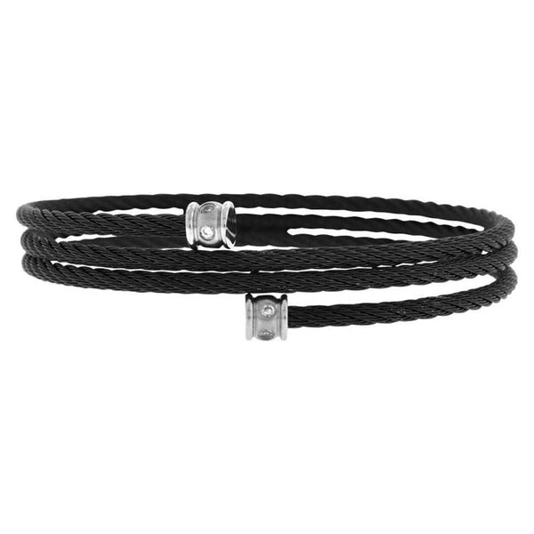 Black Stainless Steel Adjustable Braided Cable Wire with CZ Detail Bangle Bracelets