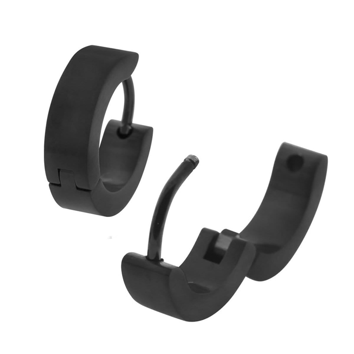 Black Stainless Steel Basic 4 mm Huggies Earrings