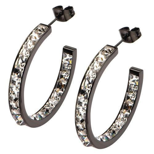 Black Stainless Steel Classic Princess Cut Inside Out Hoops Earrings