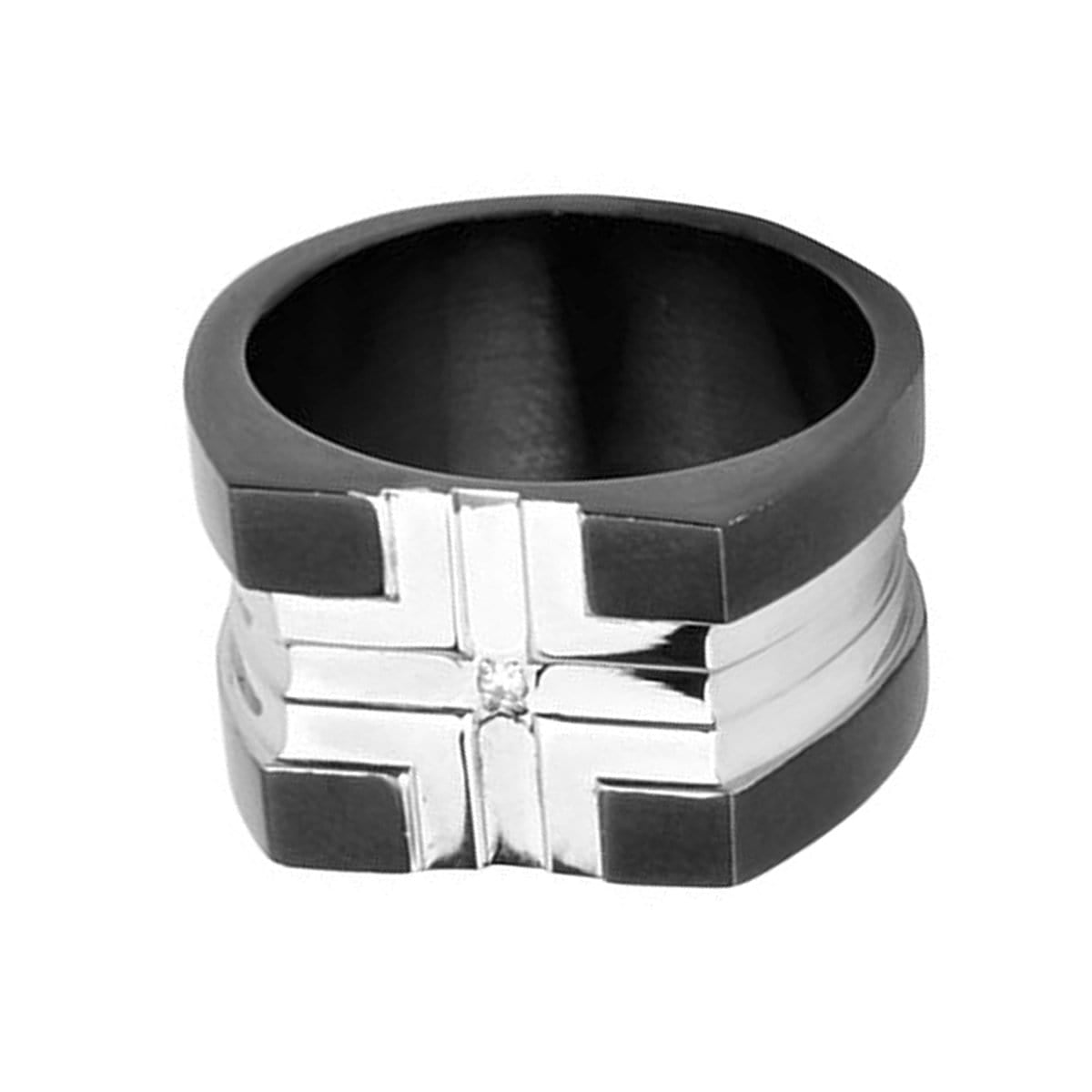 Black Stainless Steel Cross Pattern White CZ Ring Rings 18