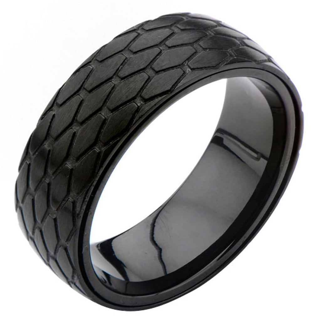 Black Stainless Steel Diamond Patterned Ring Rings