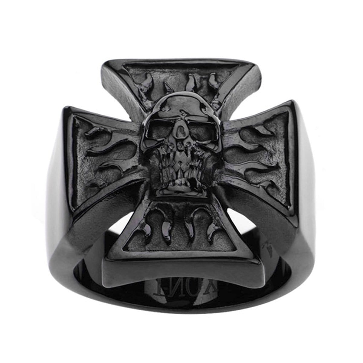 Black Stainless Steel Flaming Iron Cross Skull Ring - Inox Jewelry India