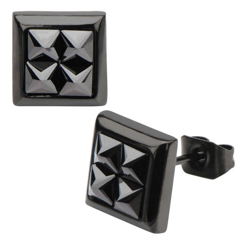 Black Stainless Steel Four Hematite Pyramid Crystal Square Studs Earrings