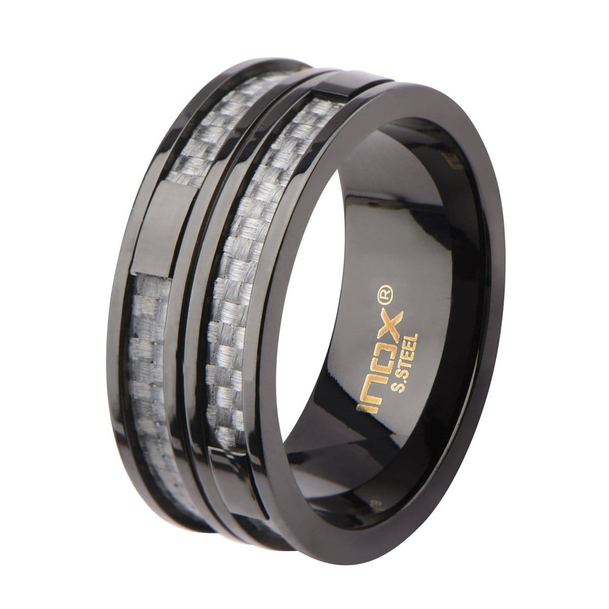 Black Stainless Steel Gray Carbon Fiber Double Layer Banded Ring Rings