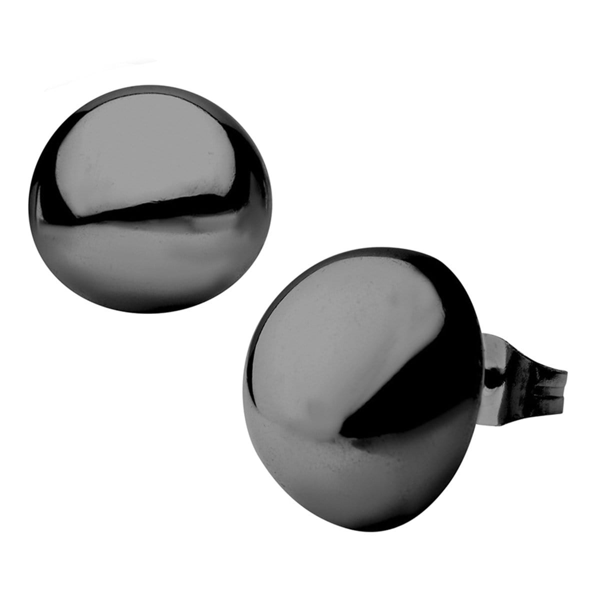 Black Stainless Steel Large Round Dome Studs Earrings