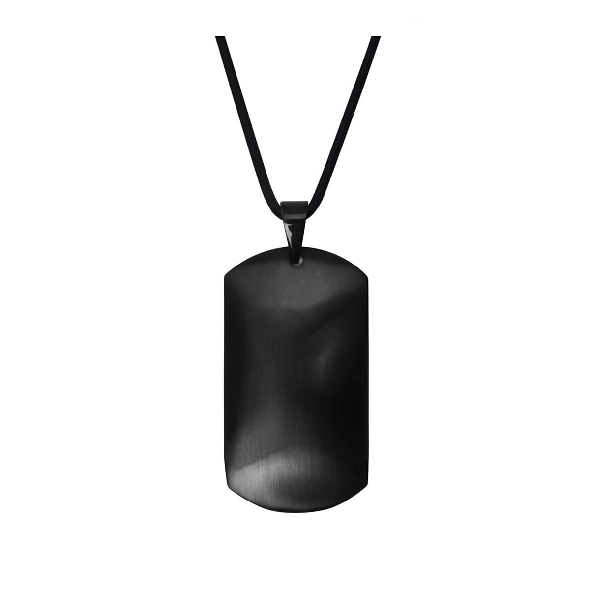 Black Stainless Steel Matte Finish ID Tag Pendant