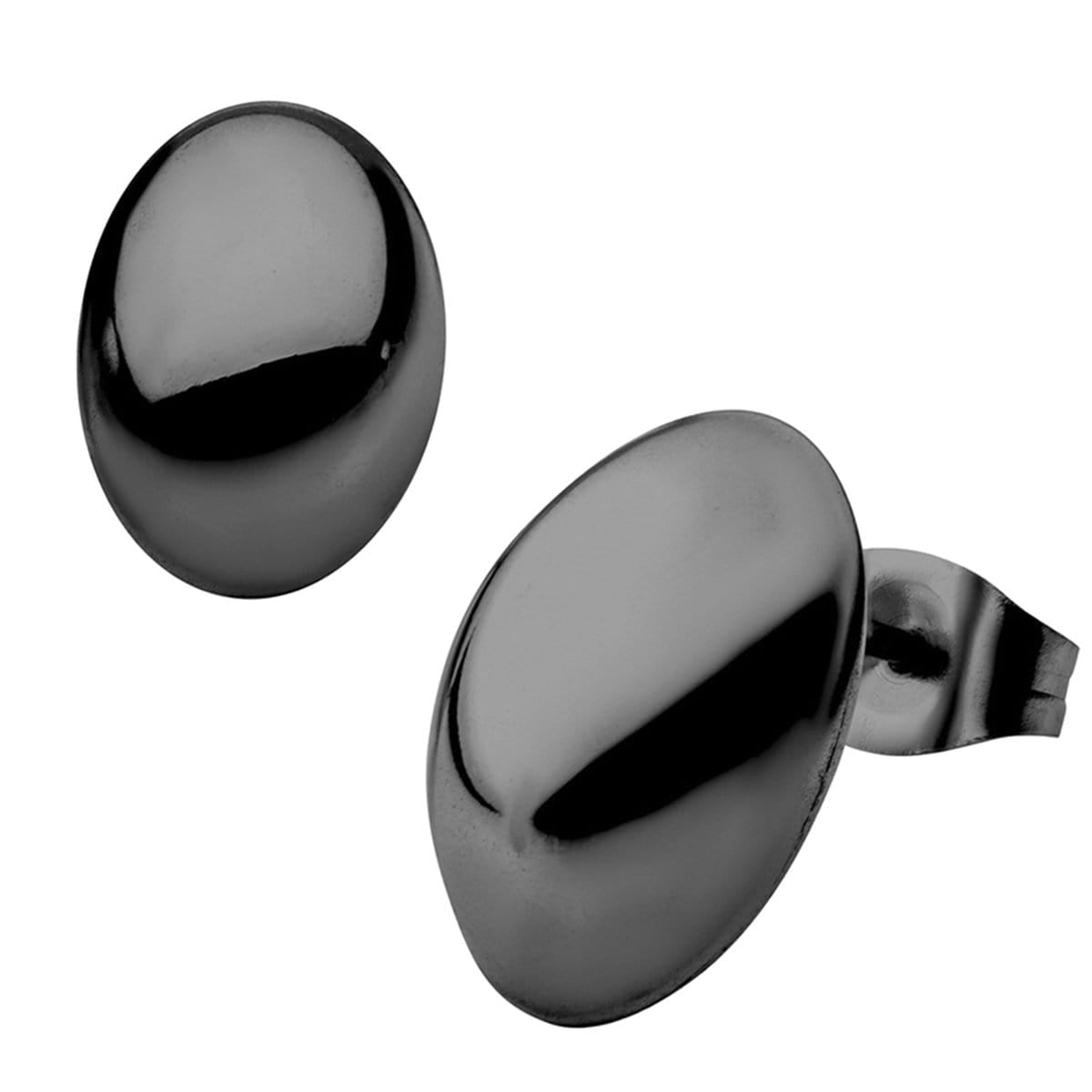 Black Stainless Steel Medium Oval Dome Studs