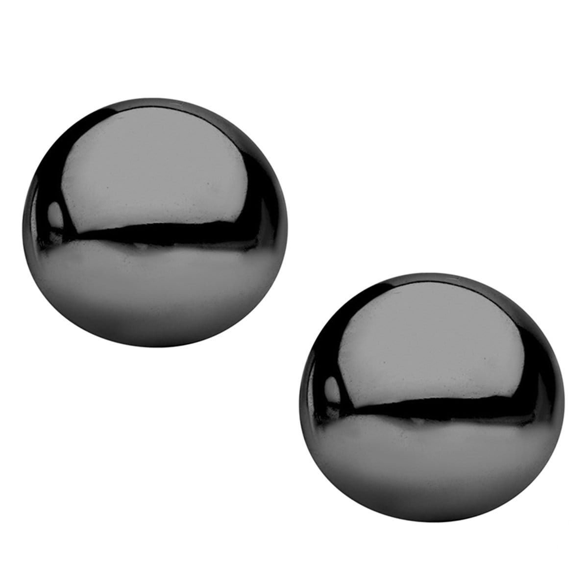 Black Stainless Steel Medium Round Dome Studs Earrings