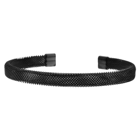 Black Stainless Steel Mesh Cuff Bangle Bracelets