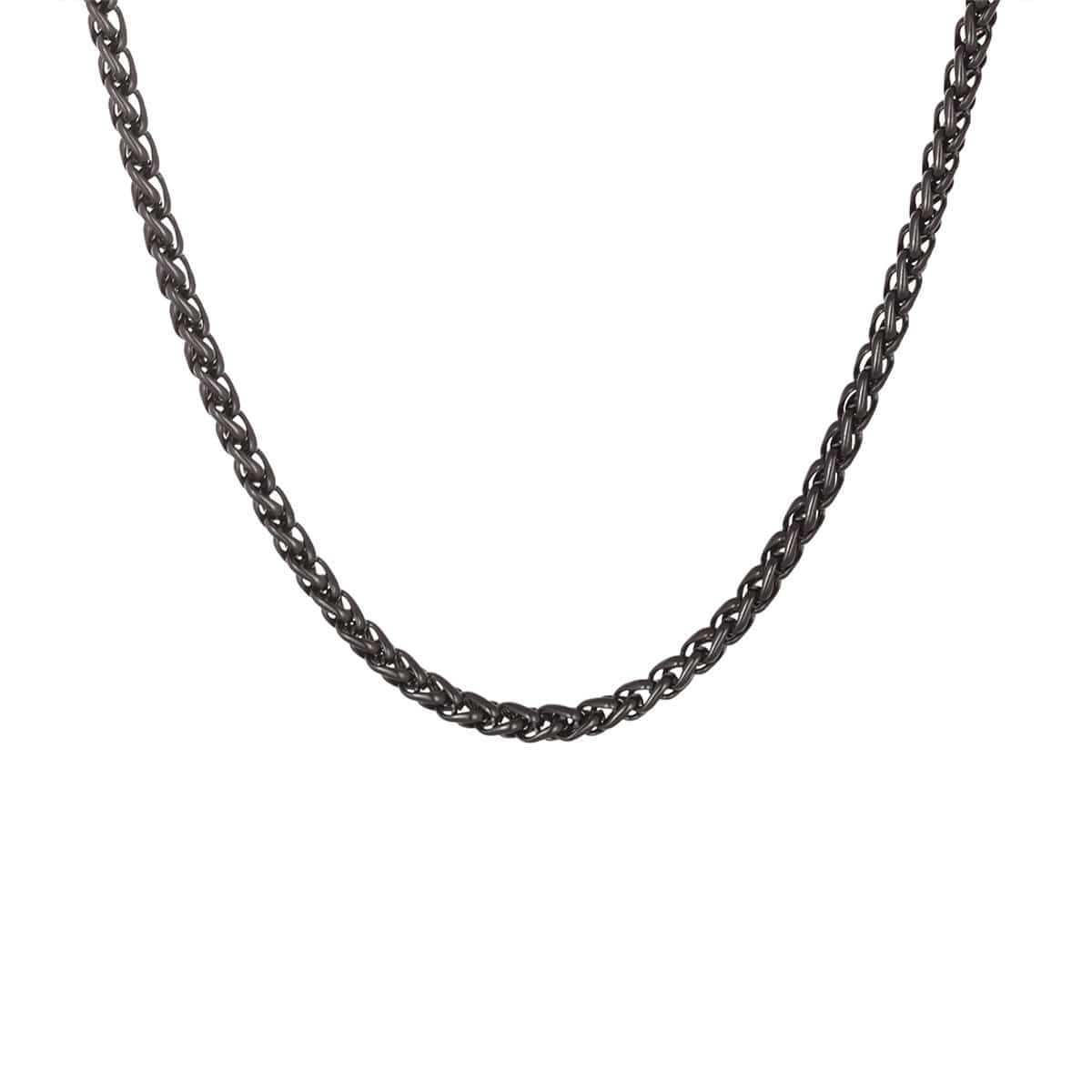 Black Stainless Steel Polished 3.5 mm Round Wheat Chain Chains