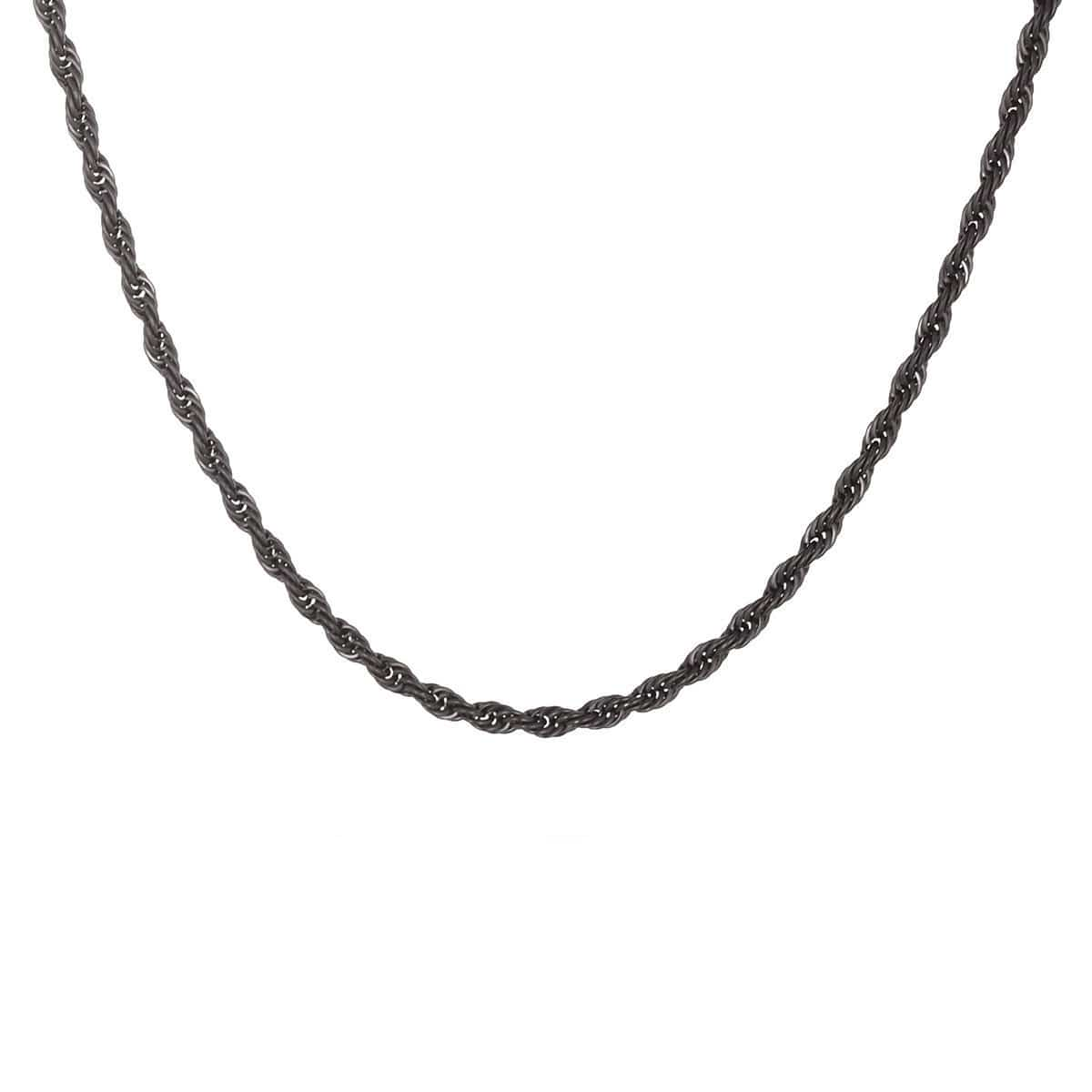 Black Stainless Steel Polished 3mm Rope Chain