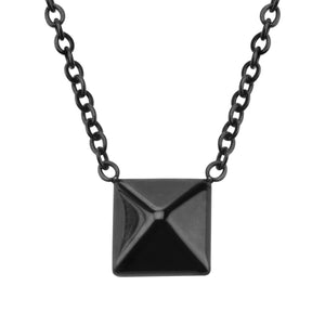 Black Stainless Steel Pyramid Pendant with Attached 18-inch Adjustable Chain Pendants