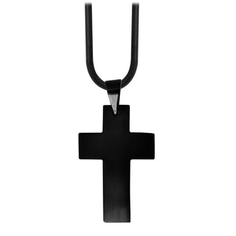 Black Stainless Steel Raised Matte Religious Cross Pendant Pendants