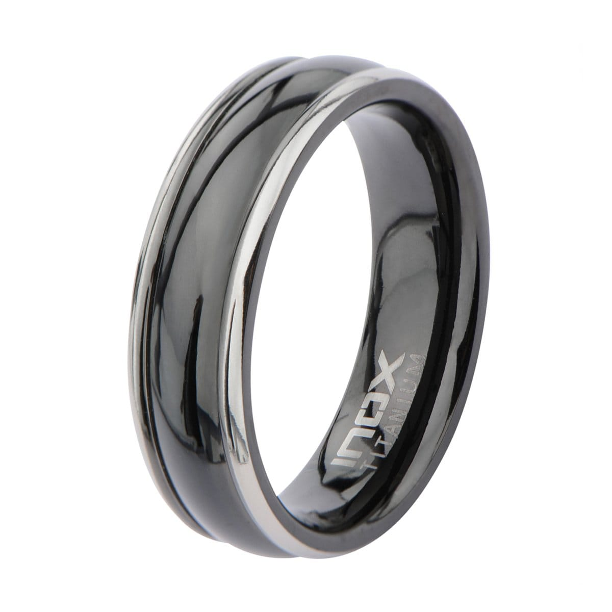 Black Stainless Steel & Silver Titanium Border Glossy Band Rings