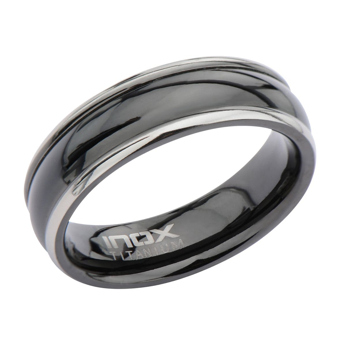 Black Stainless Steel & Silver Titanium Border Glossy Band Ring