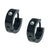 Black Stainless Steel Single CZ Huggie Earrings Earrings