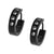 Black Stainless Steel Single Row White Princess-Cut CZ Huggies Earrings