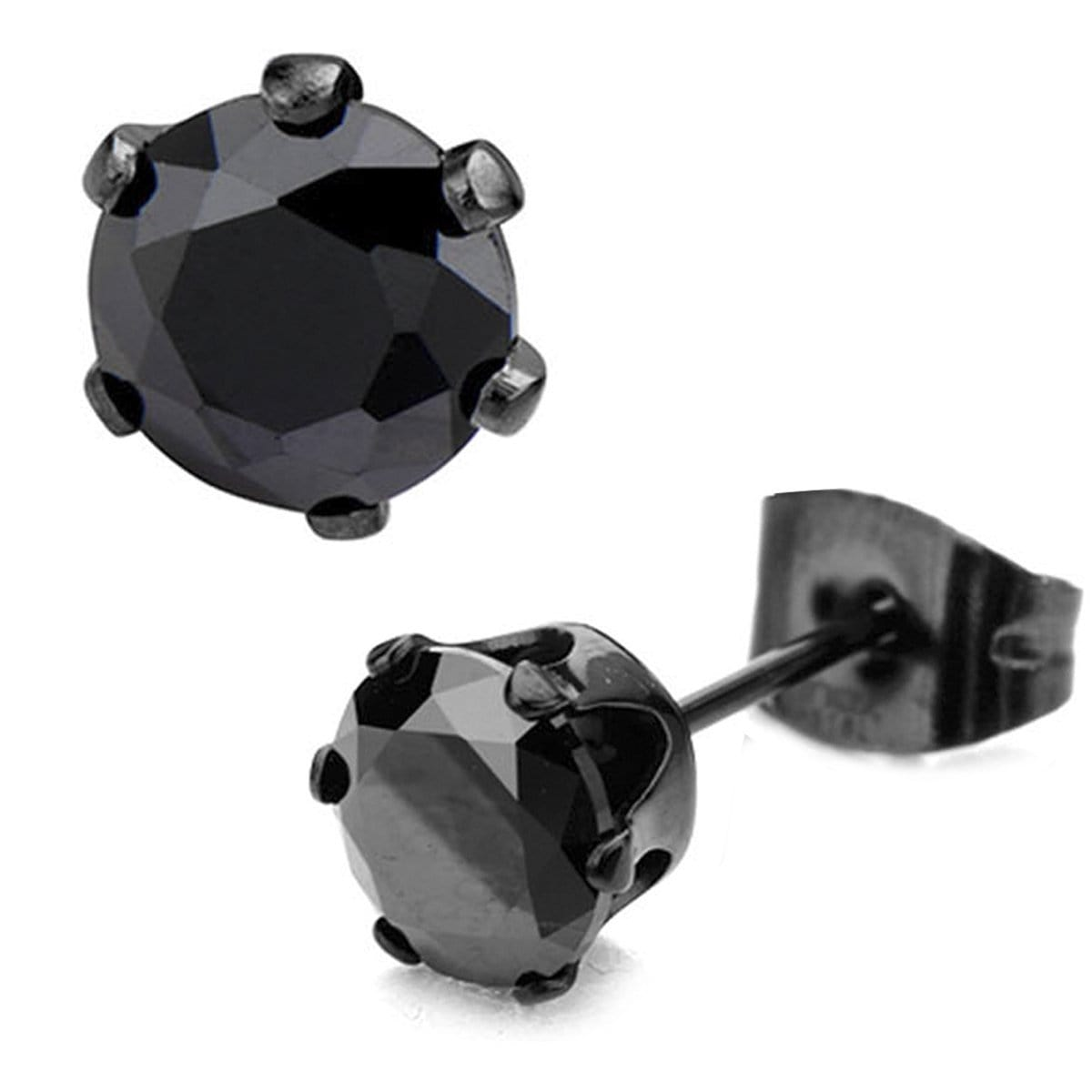 Black Stainless Steel Six Prong Black CZ Solitaire Studs Earrings