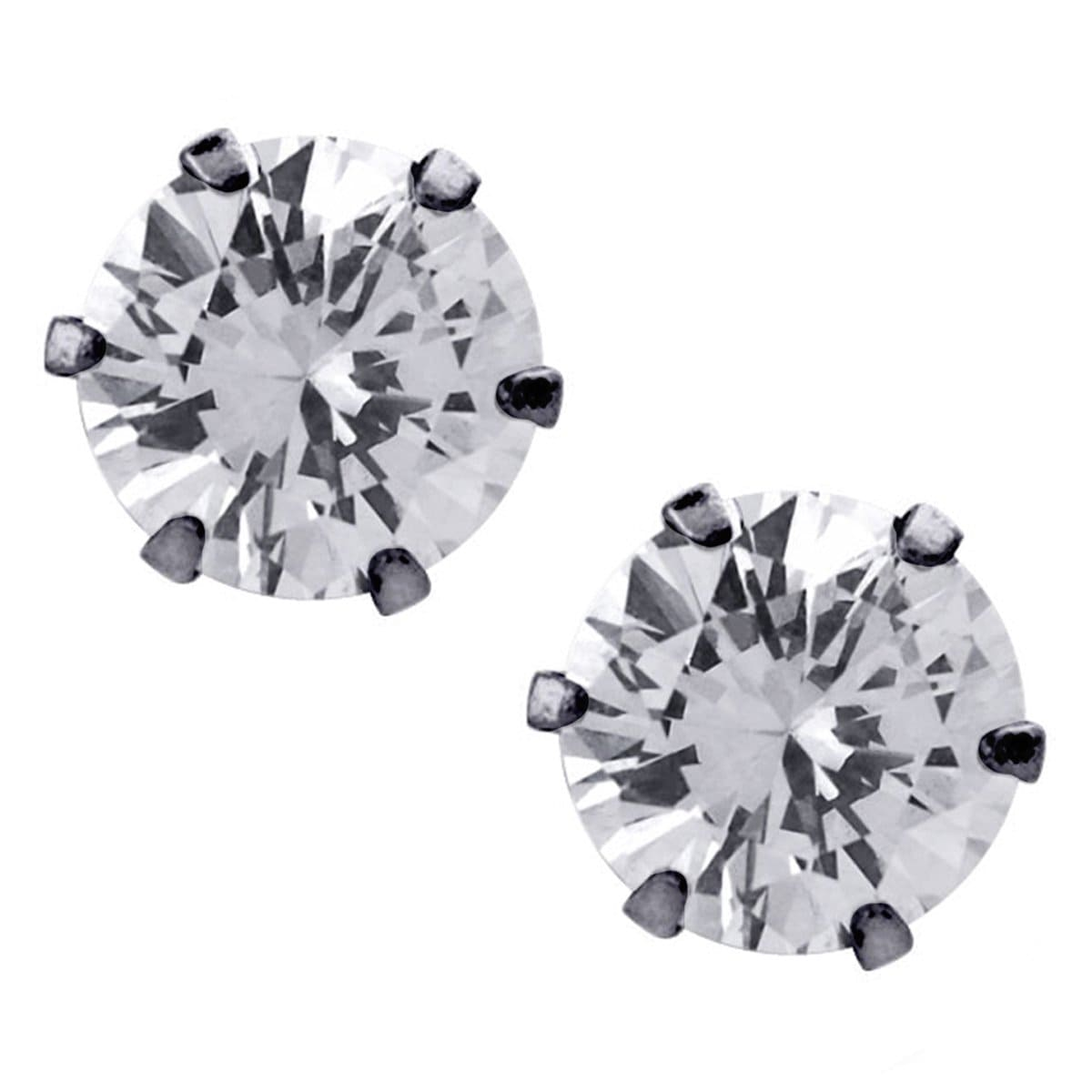 Black Stainless Steel Six Prong White CZ Solitaire Studs Earrings