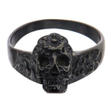 Black Stainless Steel Skull with Carved Flowers Ring
