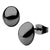 Black Stainless Steel Small Oval Dome Studs Earrings