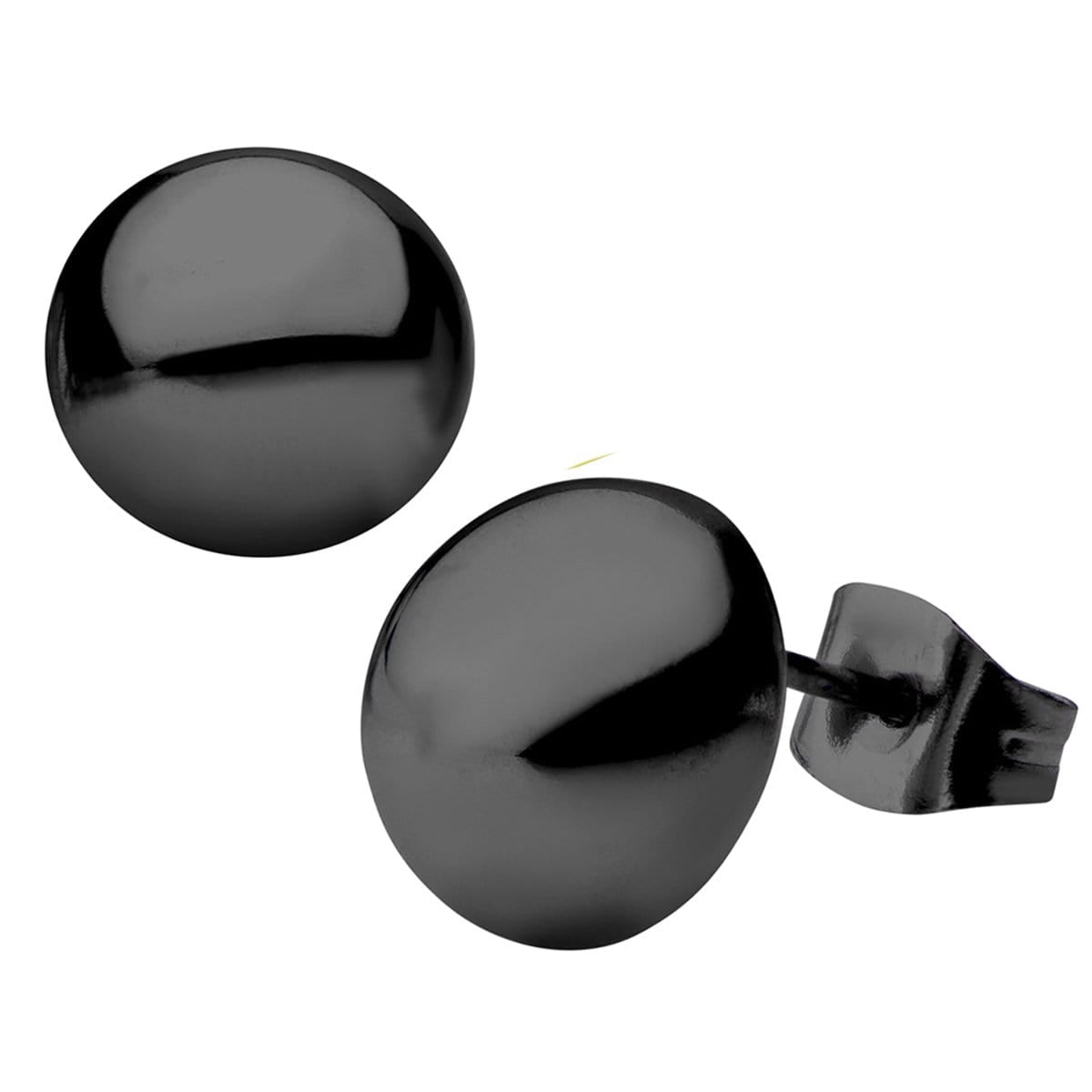 Black Stainless Steel Small Round Dome Studs Earrings