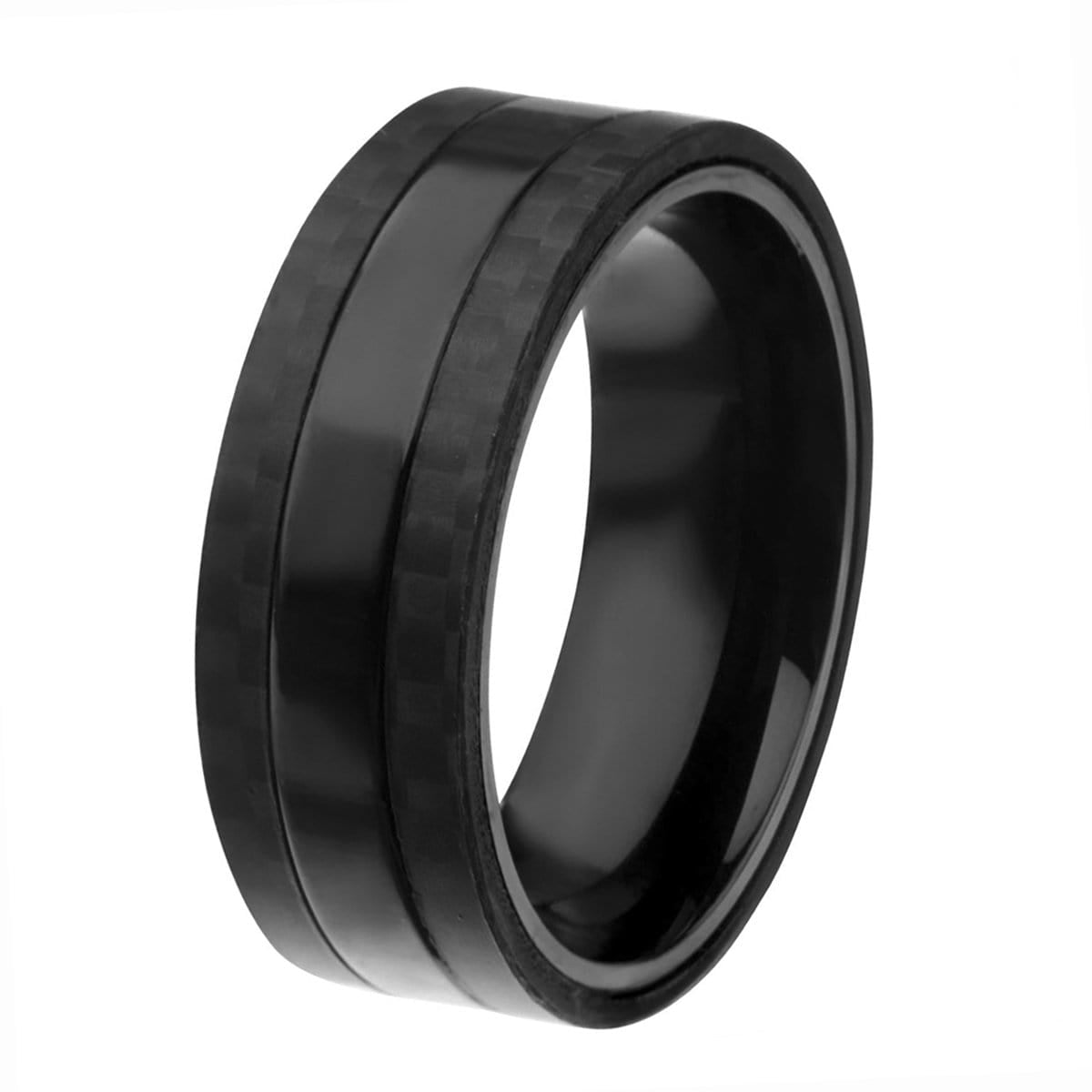 Black Stainless Steel Smooth Band with Carbon Fiber Detail Rings
