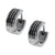 Black Stainless Steel Stripe Huggie Earrings Earrings