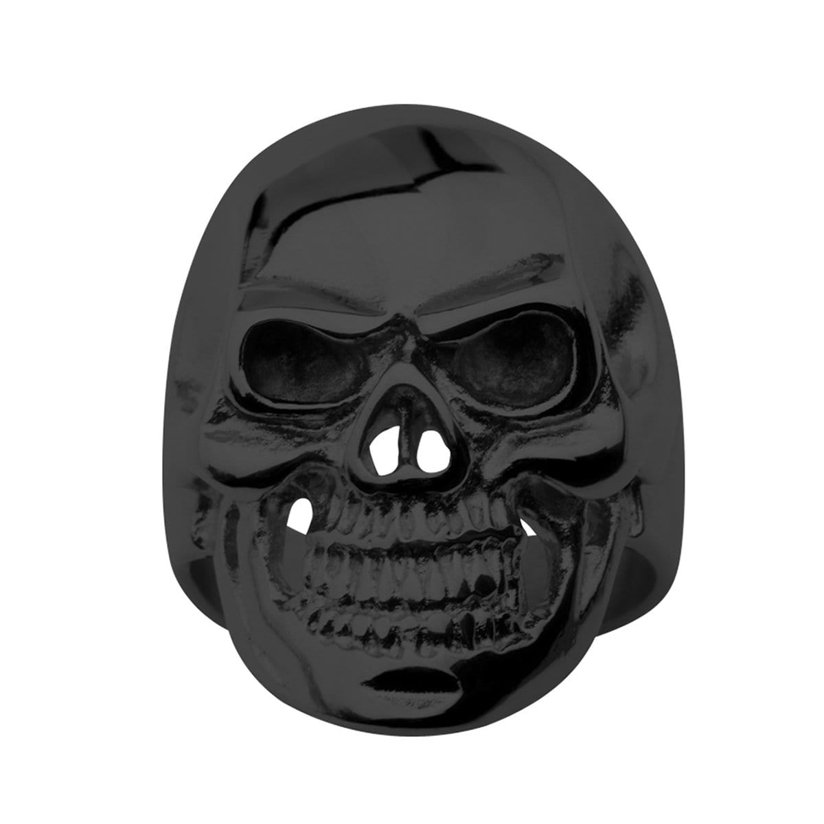 Black Stainless Steel Super Glossy Grinning Skull Ring - Inox Jewelry India