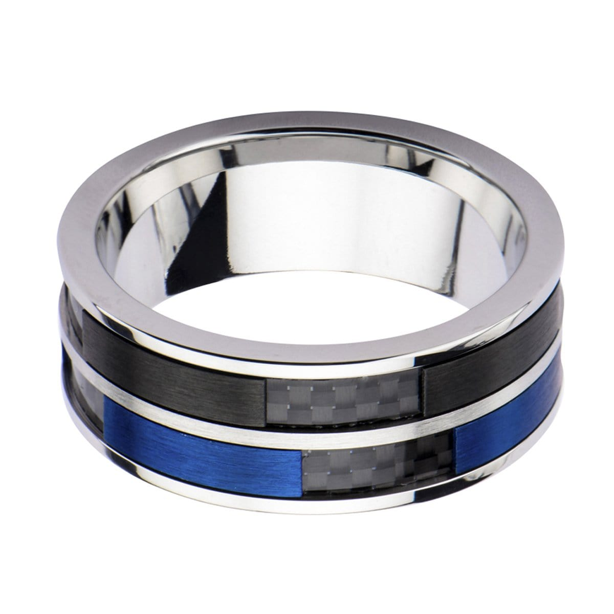 Blue, Black & Silver Stainless Steel Carbon Fiber Double Band Ring - Inox Jewelry India