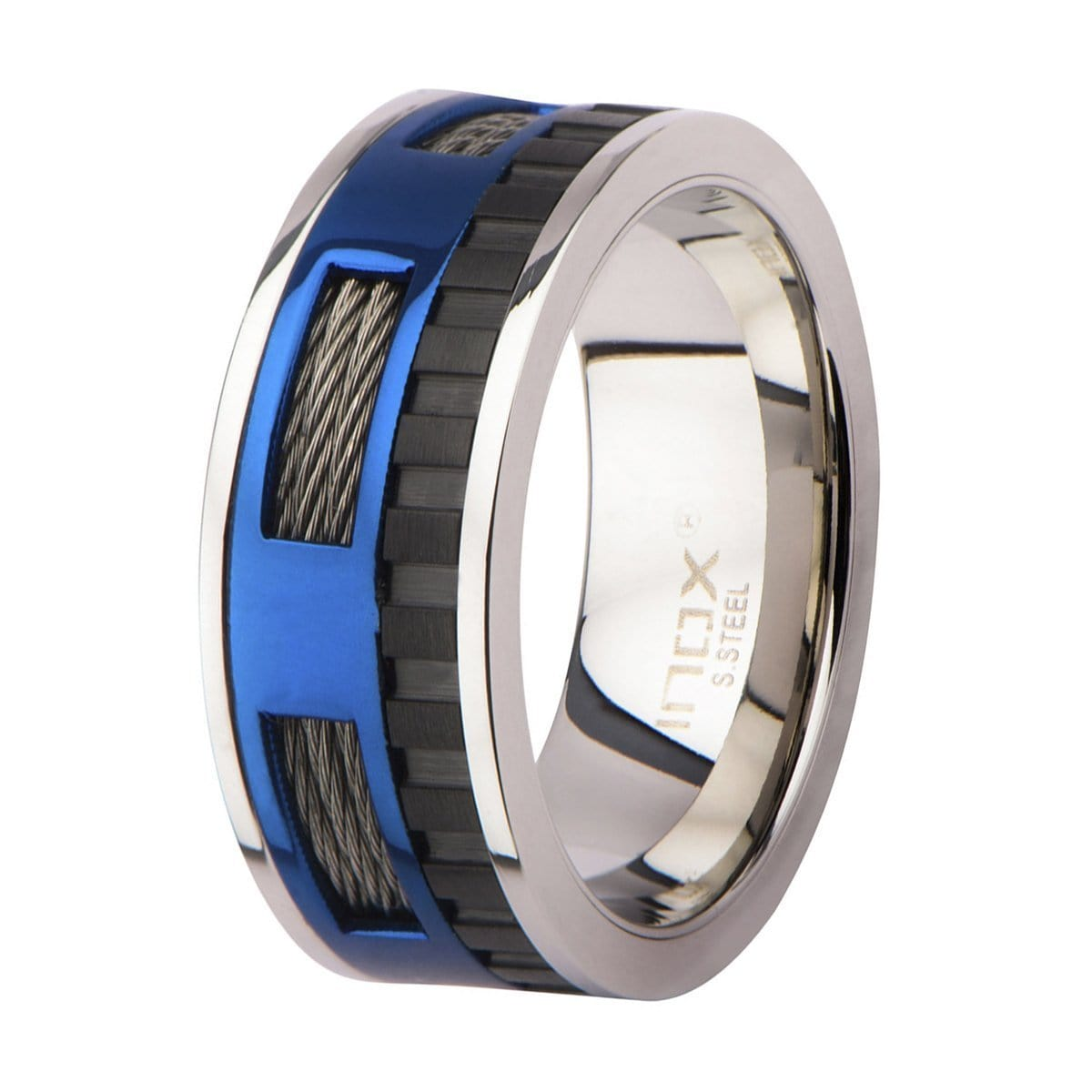 Blue, Black & Silver Stainless Steel Exposed Cable Wire Banded Window Ring Rings