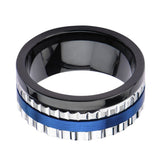 Blue, Black & Silver Stainless Steel Jagged Edge Band Ring - Inox Jewelry India