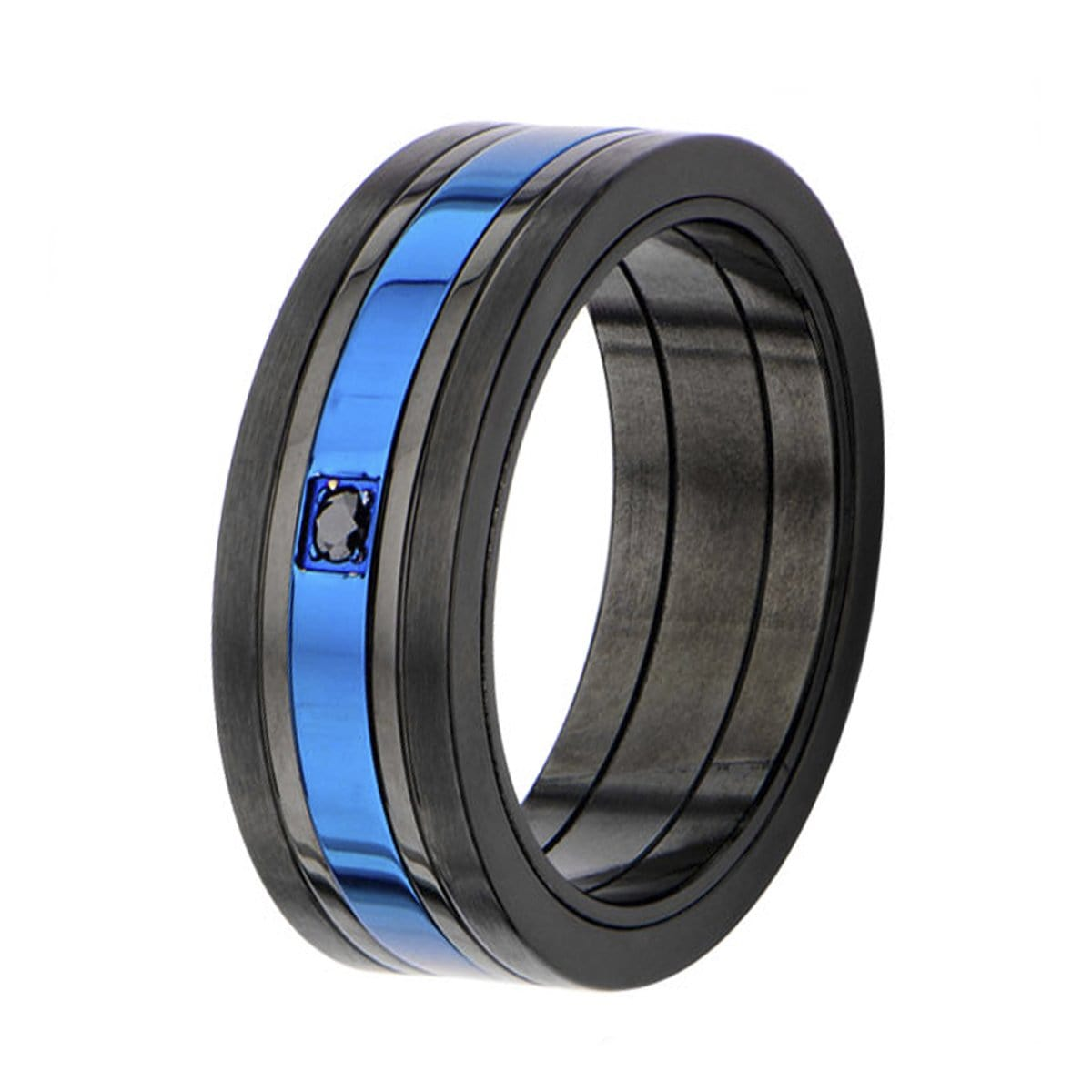 Blue & Black Stainless Steel Striped with Black CZ Spinner Ring - Inox Jewelry India
