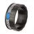 Blue & Black Stainless Steel with Gray Carbon Fiber Banded Block Ring Rings