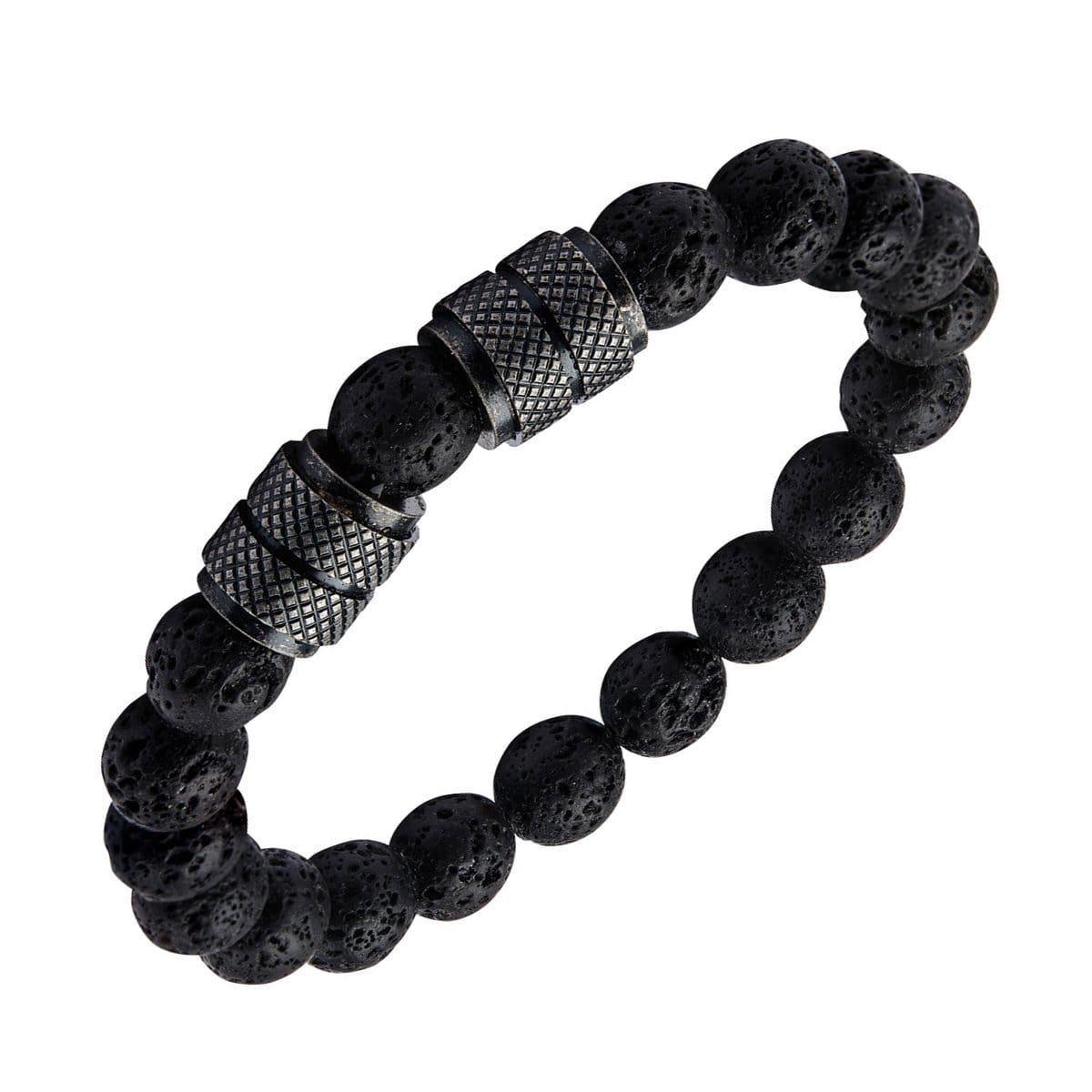Black Stainless Steel & Lava Bead Expandable Bracelet
