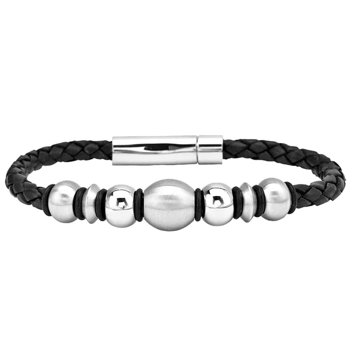 Silver Stainless Steel Black Braided Leather Twisted Bolt & Bead Bracelet