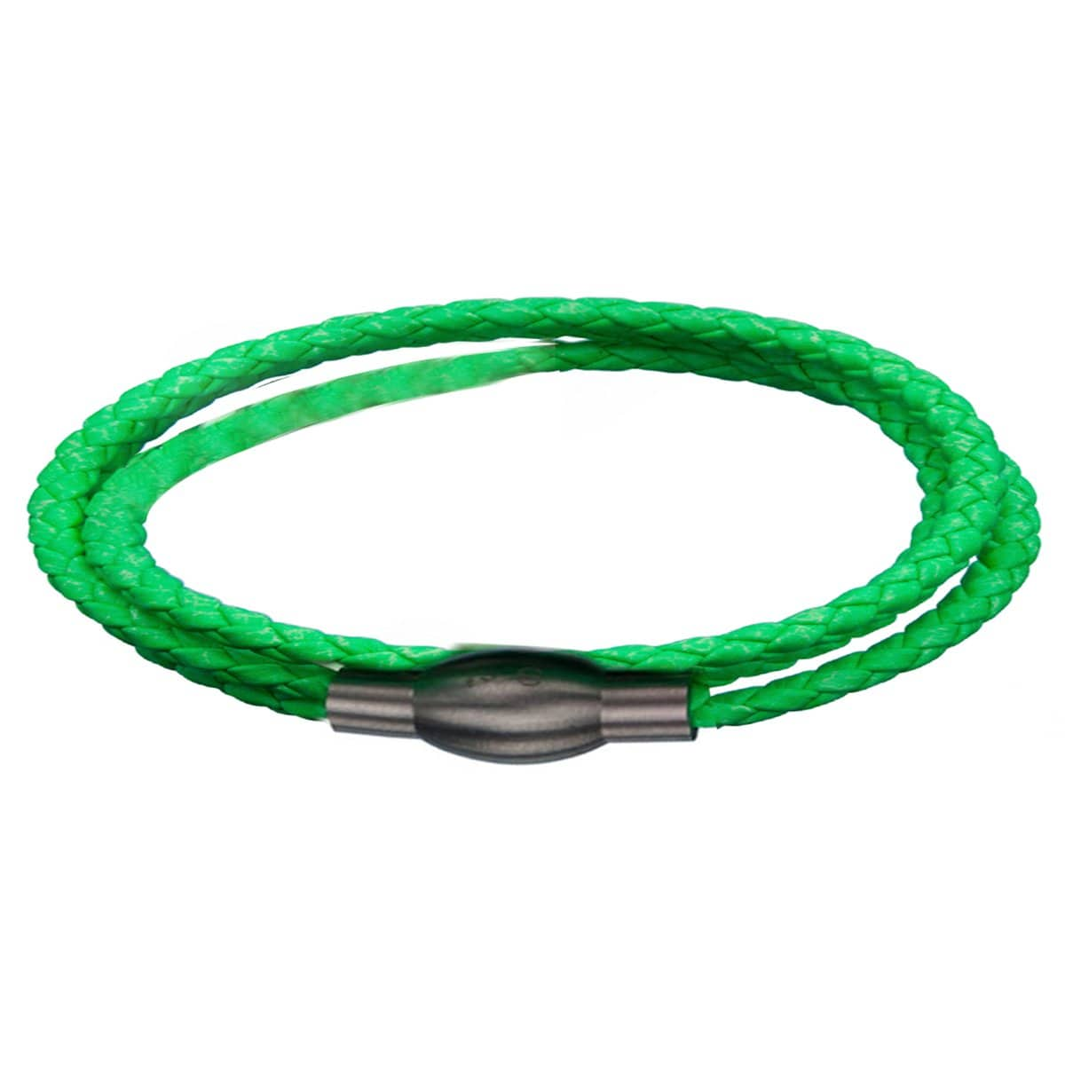 Silver Stainless Steel Neon Green Super Wrap Leather Bracelet