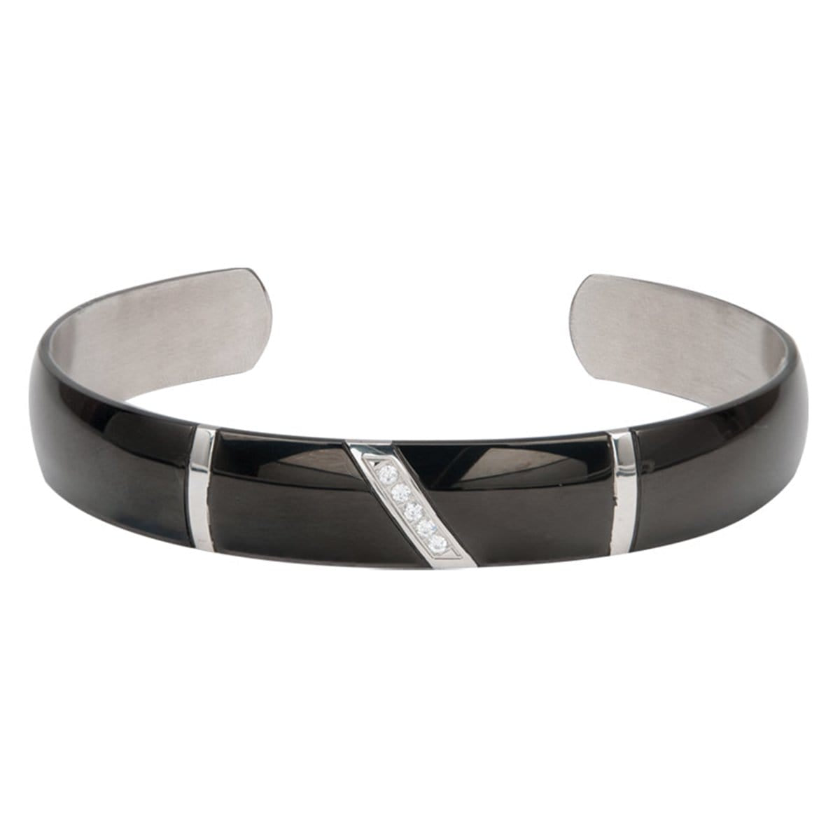 Black & Silver Stainless Steel CZ Detail Adjustable Bangle Cuff - Inox Jewelry India