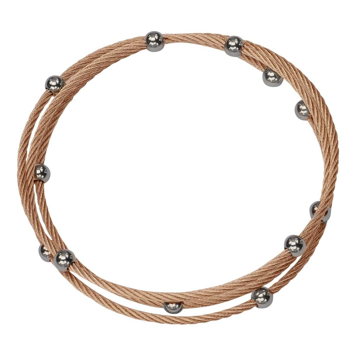 Rose Gold & Silver Stainless Steel Cable & Bead Wrap Kadaa