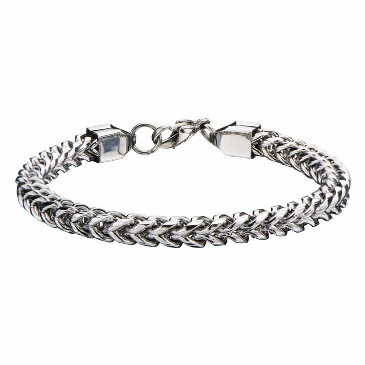 Silver Stainless Steel 6mm Rounded Franco Chain Bracelet