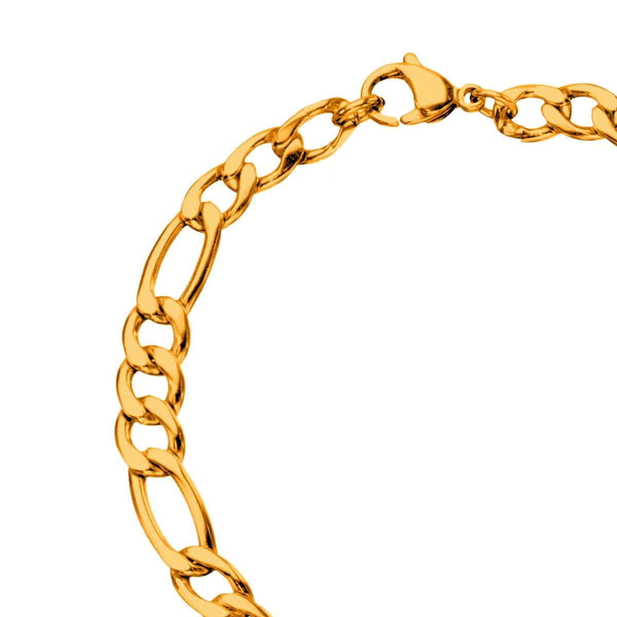 Gold Stainless Steel 5.6mm Figaro Chain Bracelet
