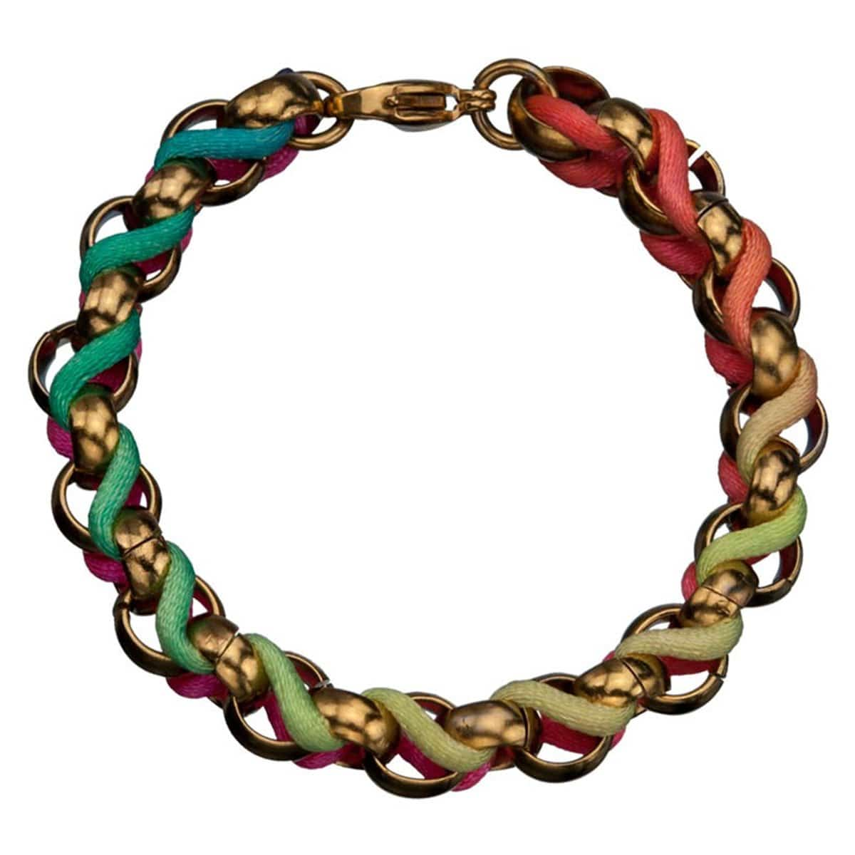 Gold Stainless Steel with Multicolor Woven Fabric Bracelet