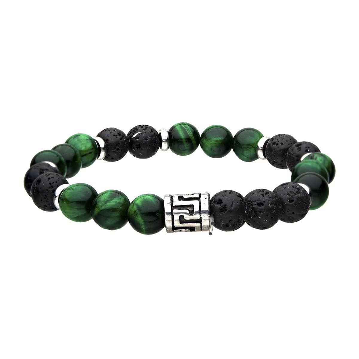 Silver Stainless Steel with Green Tiger's Eye & Black Molten Lava Bead Expandable Bracelet