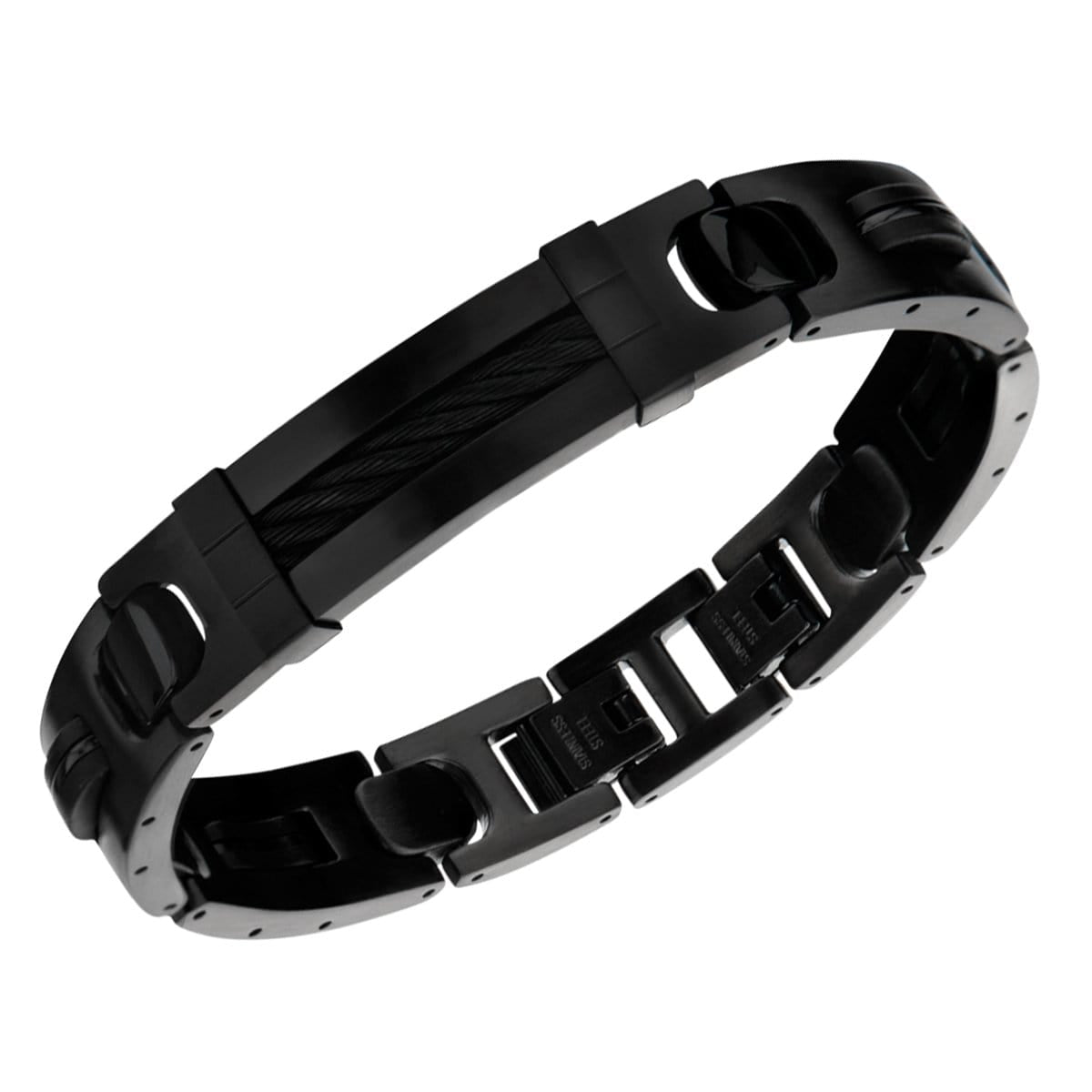 Black Stainless Steel ID Plate Matte Link Bracelet - Inox Jewelry India